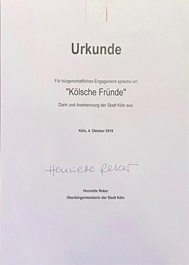Urkunde der Stadt Köln